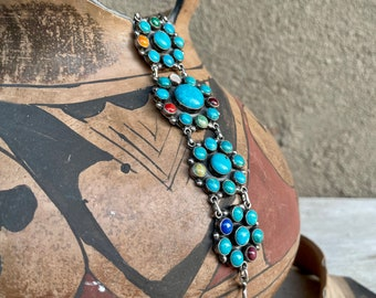 Navajo M L Perry Sterling Silver Multistone Turquoise Cluster Link Bracelet, Native America Jewelry