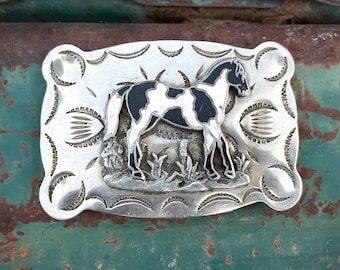 Vintage Belt Buckle Black and White Horse Nickel Silver, Southwestern Style, Gift for Cowgirl Girlfriend, Rodeo Style, Gift for 4H Daughter