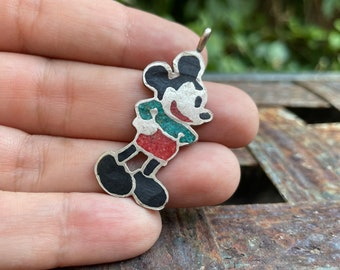 Vintage Cartoon Mouse Pendant of Crushed Coral Turquoise Inlay, Native American Zuni Tunes Toons