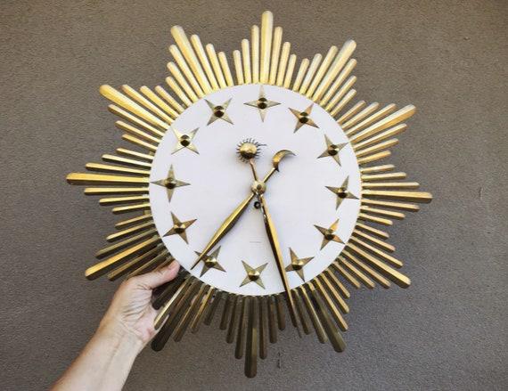 Mid Century Wall Clock Gold Metal Starburst Celestial Design Etsy