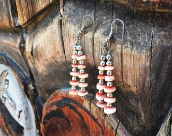 Silver Bead and Spiny Oyster Dangle Earrings Southwestern Jewelry, Native American Indian Earrings