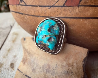 Vintage Chunky Turquoise Ring for Women or Men Size 6, Navajo Native American Indian Jewelry