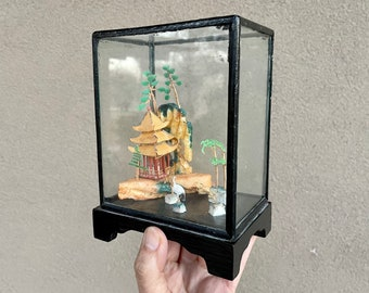 Vintage Chinese Diorama with Crane, Miniature Scene with Birds and Trees in Wood Glass Box