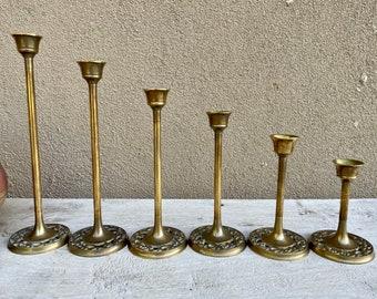 Set of Six Graduated Skinny Brass Candlestick Holders, Taper Candleholder Set, Bohemian Decor