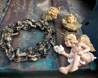 Four Vintage Resin Cherub Ornaments for Christmas Tree Including Two Very Small Angel with Wings