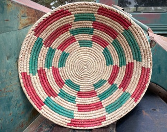 Coiled Basket Beige Teal Pink Wall Decor, Bohemian Eclectic Southwestern Home, Round Baskets