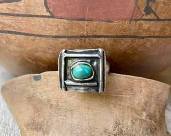 Vintage Modernist Sterling Silver Ring Square with Turquoise, Geometric Jewelry for Women