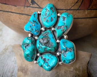 32g Huge Turquoise Nugget Cluster Ring Size 9 for Women Men, Southwestern Native American Jewelry