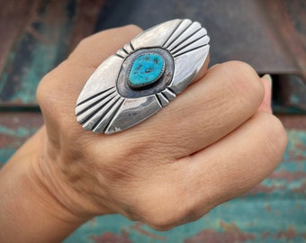 Size 7.25 Vintage Turquoise Sterling Silver Shield Ring for Women or Men, Native America Jewelry