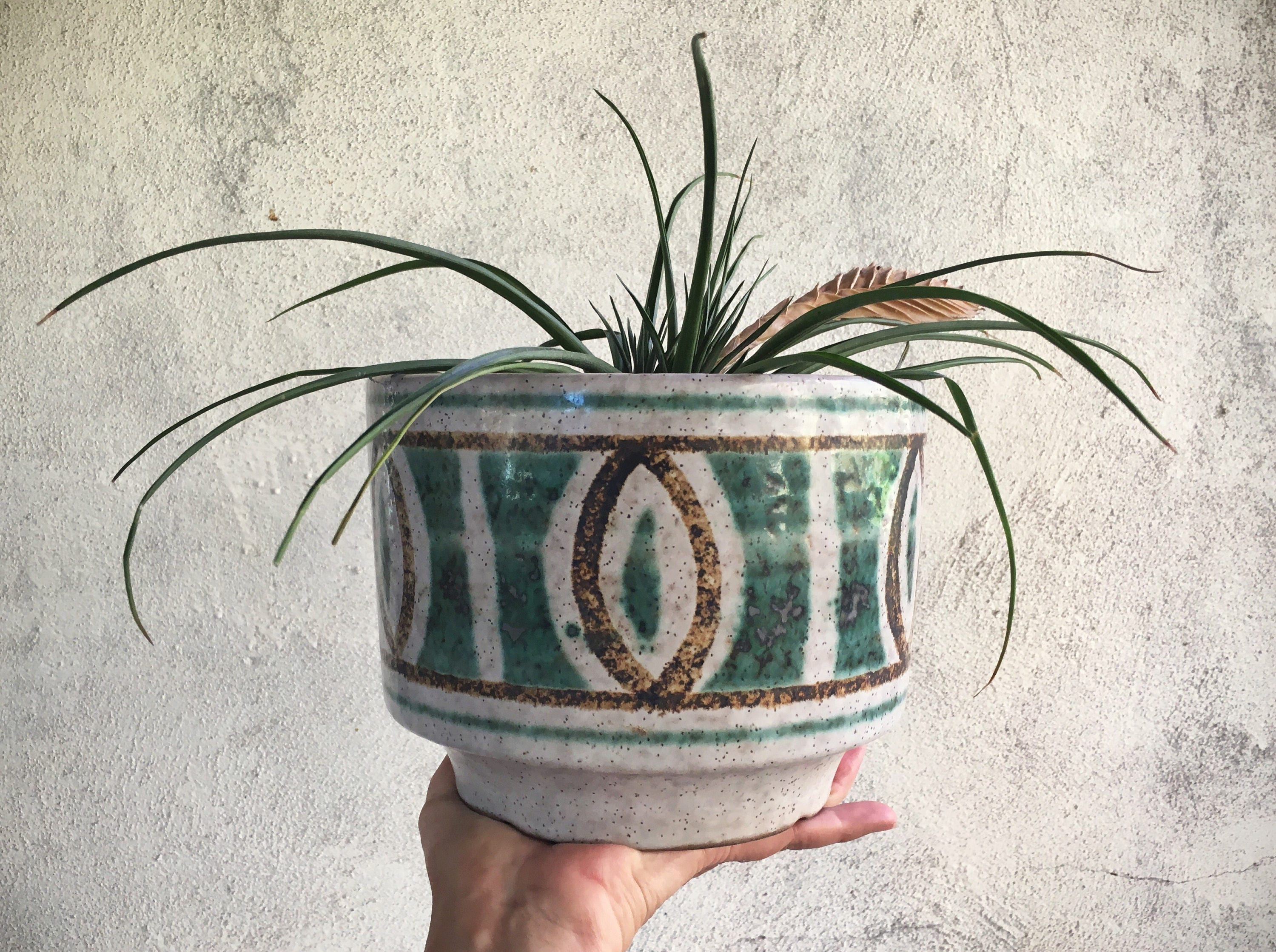 Pottery Craft Stoneware Planter Pot Made In Usa Mid Century