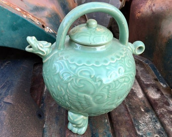 Large Vintage Dragon Teapot Celadon Green Glazed Porcelain 20th Century Reproduction, Chinoiserie Shelf Decor, Tea Ceremony, Wine Pot