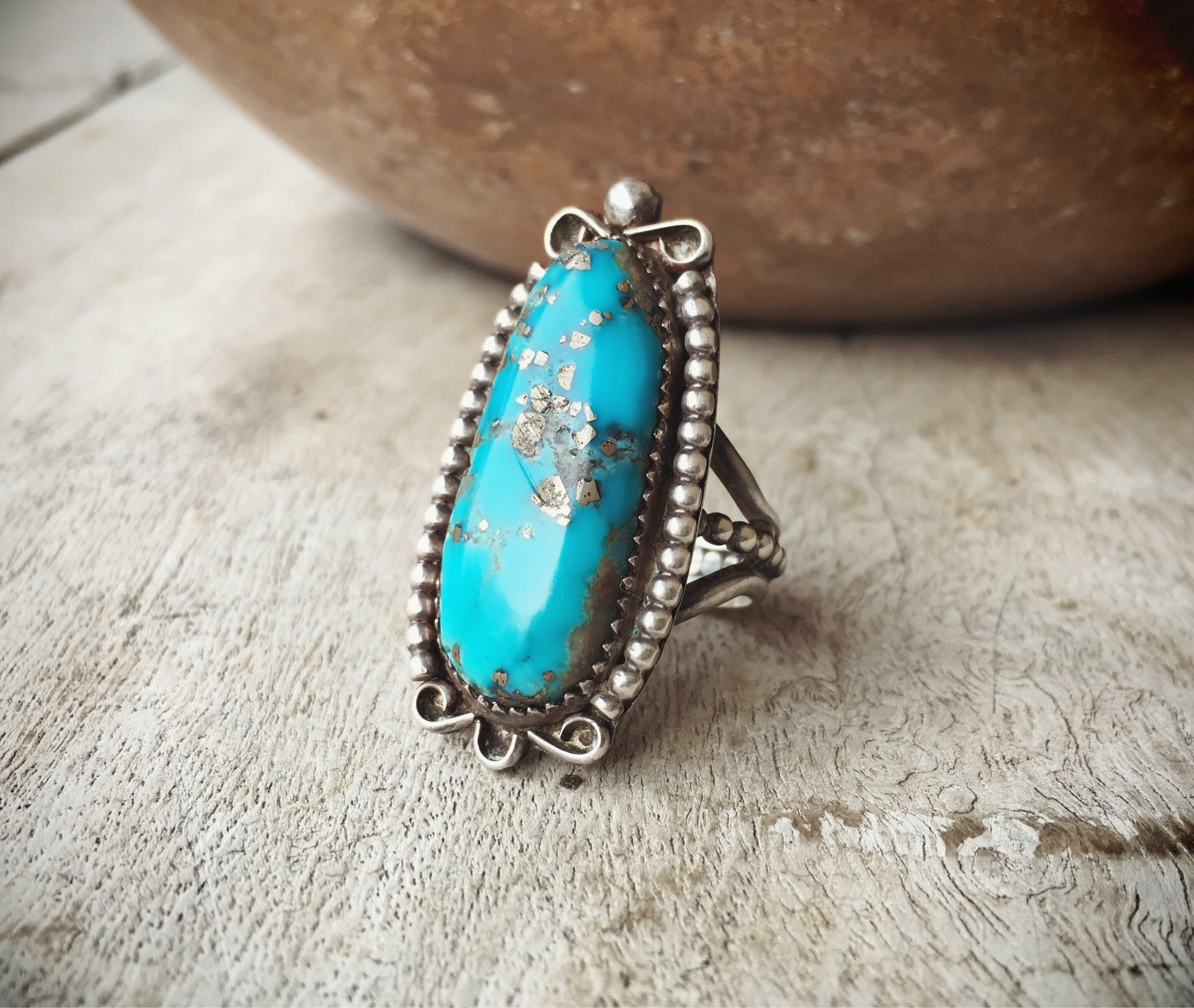 Old Pawn Morenci Turquoise Ring, Native America Indian ...
