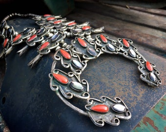 220g 1950s Squash Blossom Necklace of Coral Mother of Pearl w/ Huge Naja, Vintage Navajo Jewelry