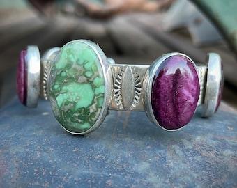 Santo Domingo Daniel Coriz Sterling Silver Turquoise Sugilite Bracelet, Native American Jewelry