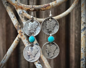 1930s 1940s Mercury Dime Earrings with Turquoise Stone, U.S. Coins, Native American Indian Jewelry, Good Luck Gift for Girlfriend