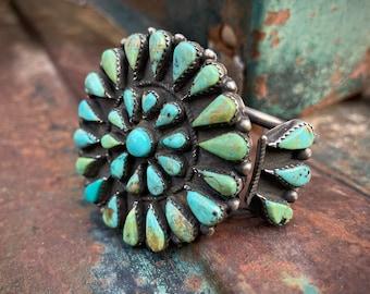 Vintage Zuni Turquoise Petit Point Medallion Cluster Cuff Bracelet Women Men, Native American