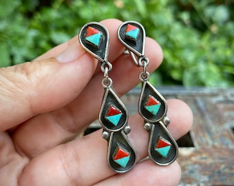 1940s Zuni Screw Back Earrings of Turquoise and Coral In Diamond-Shaped Bezels, Native American