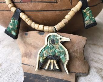 Depression Era Santo Domingo Pueblo Thunderbird Child's Necklace, Old Pawn Native American Jewelry