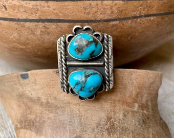 Two Stone Pilot Mountain Turquoise Ring Size 7, Vintage Native American Indian Jewelry Navajo