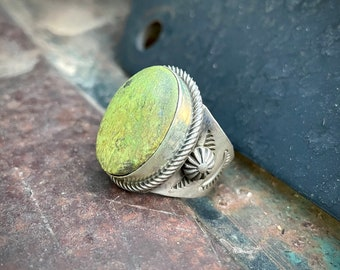 Sterling Silver Green Turquoise Ring Size 9.25 by Navajo Richard Jim, Native American Jewelry