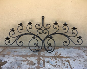 Huge Vintage Mexican Wrought Iron Wall Candelabra Ten Candle Holder, Mexican Decor