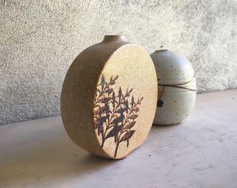 Pair of USA Stoneware Pottery Weed Pots, Art Studio Pottery Earth Tone Ceramic Bud Vases, Mid Century Modern Decor, Jungalow Decor