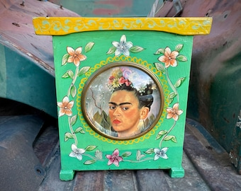 1970s Folk Art Cabinet Upcycled Shrine (Used to Be a Clock) with Vintage Frida Book Print, Altar Art