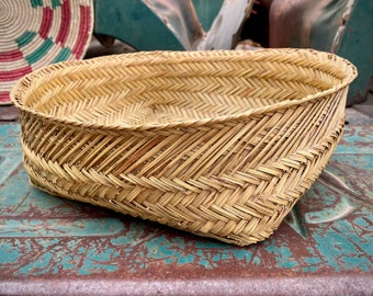 """14"""" Vintage Woven Philippine Basket Beige with Corners Bohemian Decor, Rustic Home Interior"""