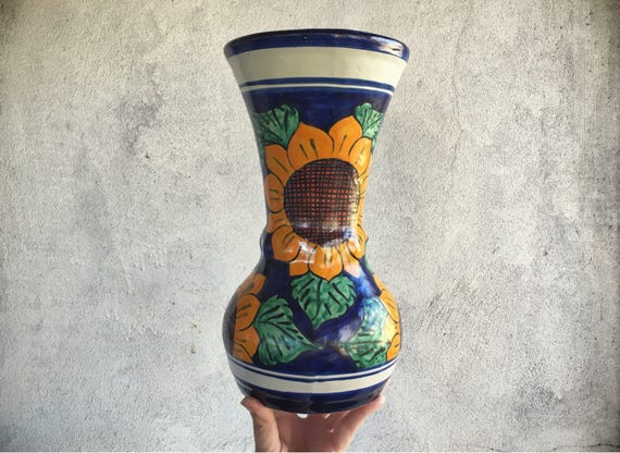 Mexikanische Talavera Keramik Vase Sonnenblume Dekor | Etsy