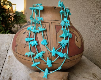 """26"""" Three-Strand Turquoise Zuni Fetish Necklace for Women, Native America Indian Jewelry"""