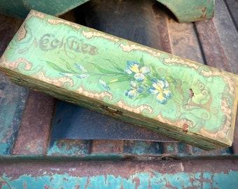 Chippy Antique Victorian Green Floral Lacquer Papier Mache Necktie Box Handpainted, Cottage Decor
