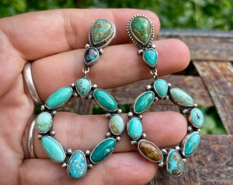 Turquoise Cluster Earrings by Navajo Sheila Tso, Native American Indian Jewelry for Women