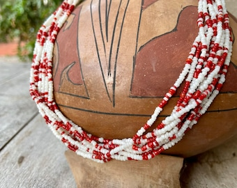 """Vintage 10-Strand Seed Bead Choker Necklace 18"""", White and Red, Southwestern Native Ethnic Style"""