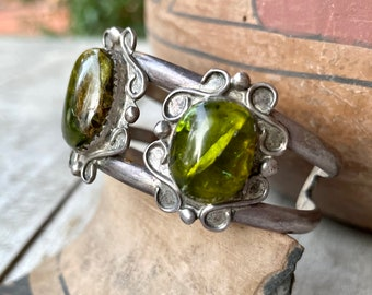 1950s Sterling Silver Cuff Bracelet with Simulated Green Fire Opal, Navajo Native American Jewelry