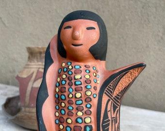 Ceramic Corn Maiden Pottery Figurine by Navajo Geri Vail, Native American Indian Arts Crafts