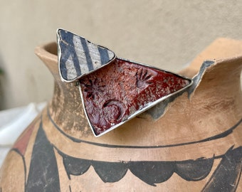 Sterling Silver Anasazi Pottery Shard Brooch Pin for Jacket Hat Scarf, Unusual Gift for Artist