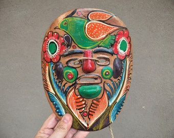 Mexican Pottery Plate Guererro Storyteller Ceramics Mayan or Aztec Face Wall Hanging, Primitive Decor