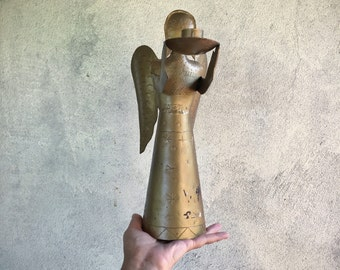 Metal Angel Candle Holder Christmas Decorations, Rustic Home Decor, Bohemian Eclectic Holiday
