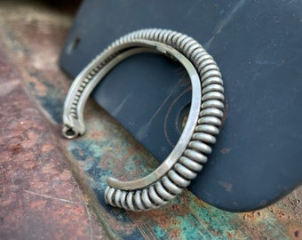 Vintage Sterling Silver Coil Narrow Row Bracelet (Repaired), Native American Indian Jewelry Men's