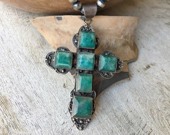 Large and Heavy Sterling Silver Green Beryl Cross Pendant for Necklace, Bohemian Jewelry for Women