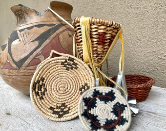 Lot of Miniatures Including Apache Burden Basket and Coiled Plaque, Woven Wedding Basket, Small Southwestern Decor, Take Away Worries