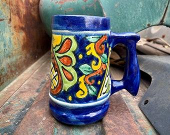 Vintage Heavy Talavera Ceramic Coffee Mug, Mexican Pottery Stein, Blue Yellow Southwest Decor