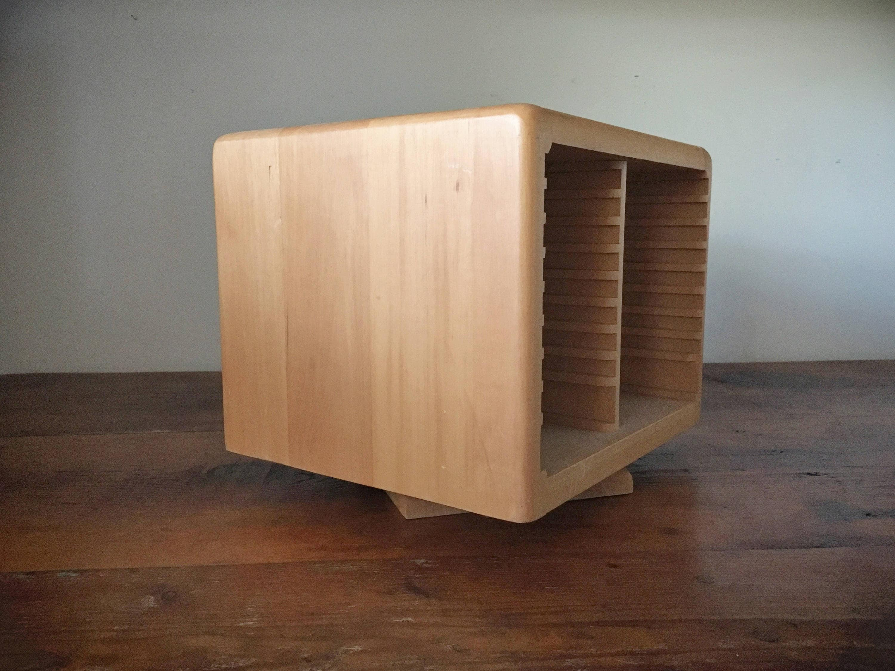 Vintage wooden CD holder case DVD storage cases carousel
