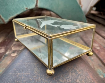 Tabletop Brass Etched Glass Box Display Case for Jewelry or Trinkets, Bohemian Decor Vanity