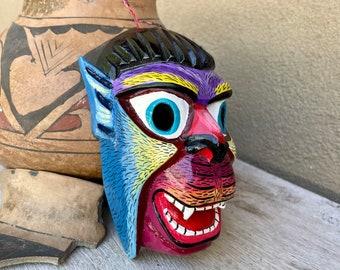Small Colorful Painted Wolf Man Mexican Mask Wall Hanging, Rustic Bohemian Decor, Nahua Folk Art
