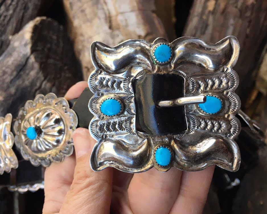 192gm Sterling Silver Turquoise Concho Belt For Women