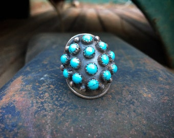 1980s Zuni Turquoise Snake Eye Knuckle Ring for Women (Custom Size), Native American Jewelry