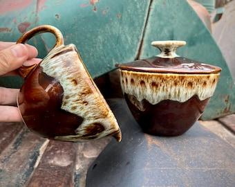 Vintage Brown Drip Creamer and Sugar Bowl, USA Pottery, Canonsburg Style, Holiday Serving Set