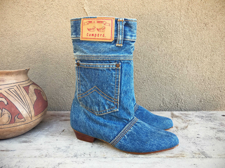 Denim Pocket Boots Blue Jean Iconic 80s Fashion Town ...