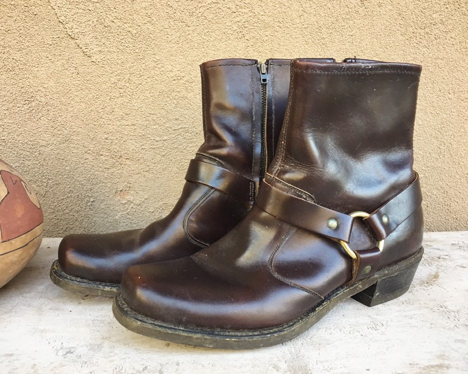 97191eb20f8 Vintage Men s or Women s Short Boot Brown Leather 1980s Thom McAn Square  Toe Harness Boots Made in USA